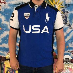 Polo Ralph Lauren Blue USA polo shirt spell out L